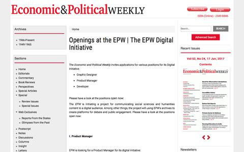 Screenshot of Developers Page epw.in - Openings at the EPW | The EPW Digital Initiative | Economic and Political Weekly - captured July 16, 2017