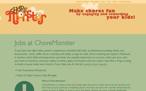 Screenshot of Jobs Page choremonster.com - Jobs at ChoreMonster | ChoreMonster - captured July 18, 2014