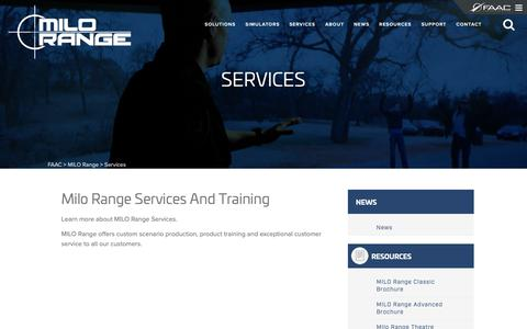 Screenshot of Services Page faac.com - Services | MILO Range - captured Oct. 1, 2018
