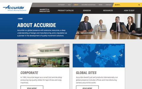 Screenshot of About Page accuride.com - About Accuride | Global Hardware Manufacturer | Slide Engineering - captured Nov. 20, 2016