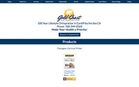 Screenshot of Products Page goldcoastchiro.com - Products - Dr. David & Lorraine Melendez, Dr Lorraine Melendez chiropractors in Cardiff by the Sea CA  - Gold Coast Chiropractic Center - captured Aug. 24, 2017
