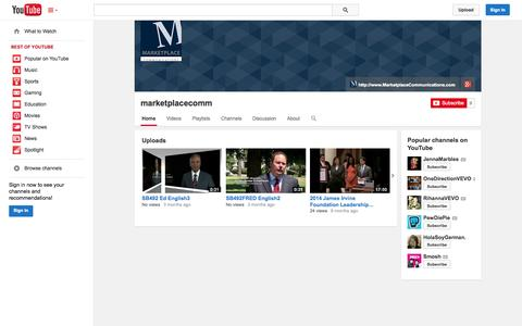 Screenshot of YouTube Page youtube.com - marketplacecomm  - YouTube - captured Oct. 27, 2014