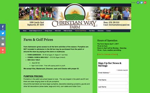 Screenshot of Pricing Page christianwayfarm.com - Christian Way Farm and Mini Golf, LLC: Farm & Golf Prices - captured April 27, 2017