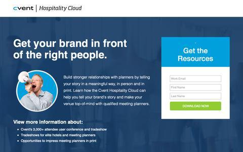 Screenshot of Landing Page cvent.com - Hospitality Cloud   Cvent - Brand Awareness - captured Oct. 5, 2018