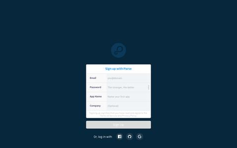Screenshot of Signup Page parse.com - Parse - captured Dec. 10, 2015