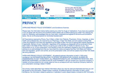 Screenshot of Privacy Page rxusa.com - RxUSA Pharmacy, Prescriptions, Drugs, Medications, Pharmacy - captured Oct. 6, 2014
