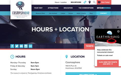 Screenshot of Hours Page cosmo.org - Hours & Location - Cosmosphere - captured Nov. 10, 2018