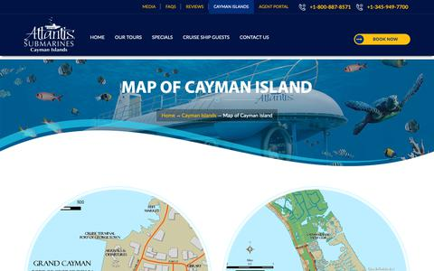 Screenshot of Maps & Directions Page caymanislandssubmarines.com - Cayman Island Map, Grand Cayman Map, Seven Mile Beach Map, George Town Map, Caribbean Islands Map - captured March 27, 2019
