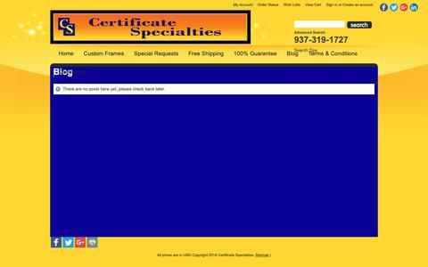 Screenshot of Blog certificatespecialties.com - Blog - captured Sept. 27, 2018