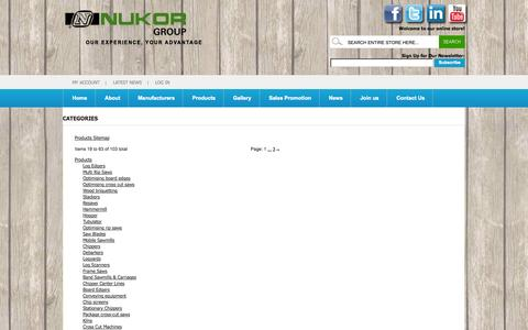 Screenshot of Site Map Page nukor.co.za - Magento Commerce - captured Sept. 19, 2014