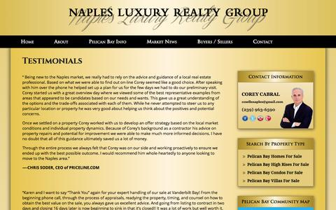 Screenshot of Testimonials Page naplespelicanbayproperties.com - Pelican Bay Real Estate - Luxury Homes & Condos in Naples Florida - captured Jan. 12, 2016