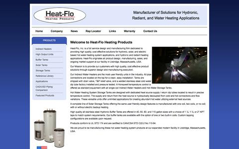 Screenshot of Home Page heat-flo.com - Hot Water Heating System from Heat-Flo Heating Products - captured Nov. 29, 2017