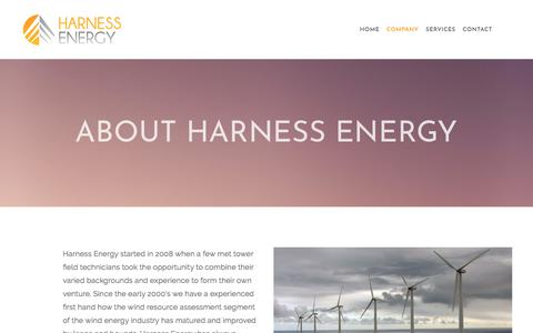 Screenshot of About Page harnessre.com - Experienced Meteorological Tower Installers in Colorado — Harness Energy - captured Feb. 17, 2018