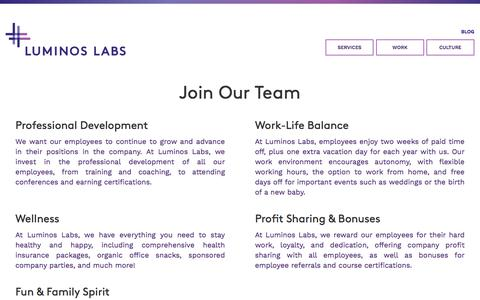 Screenshot of Jobs Page luminoslabs.com - Luminos Labs   Digital Commerce Projects on Episerver, Microsoft & Sitecore - - NOT FOR COMMERCIAL USE - captured Nov. 29, 2016