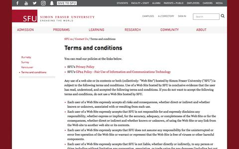 Screenshot of Terms Page sfu.ca - Terms and conditions - SFU.ca - Simon Fraser University - captured Sept. 21, 2018