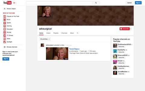 Screenshot of YouTube Page youtube.com - advsurgical  - YouTube - captured Oct. 23, 2014