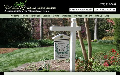 Screenshot of Contact Page Maps & Directions Page colonial-gardens.com - Visit Our Bed and Breakfast on Jamestown Road in Williamsburg - captured April 13, 2017