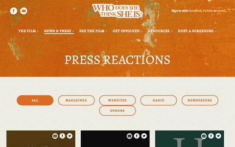 Screenshot of Press Page whodoesshethinksheis.net - Press Reactions - Who does she thinks she is - captured Feb. 26, 2017