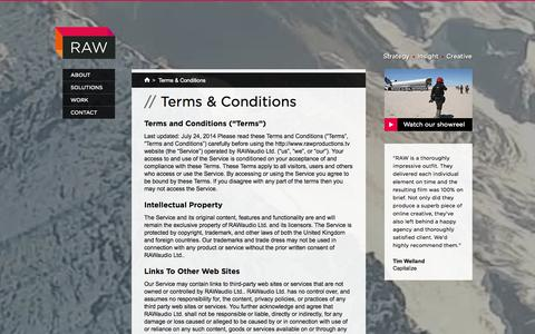 Screenshot of Terms Page rawproductions.tv - Terms & Conditions | Video Production Agency London | RAW Productions - captured Oct. 26, 2014