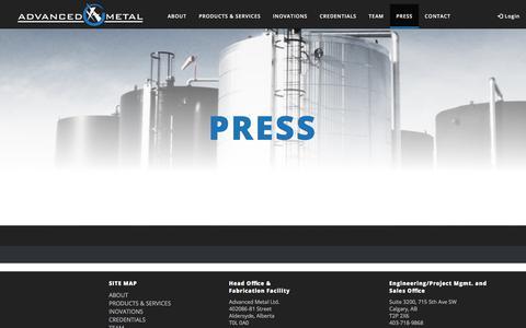 Screenshot of Press Page advancedmetal.ca - Press - Advanced Metal - captured Oct. 7, 2017