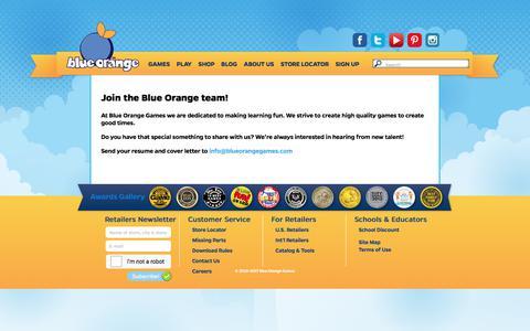 Screenshot of Jobs Page blueorangegames.com - Blue Orange Games - Careers - captured June 1, 2017