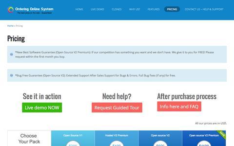 Screenshot of Pricing Page orderingonlinesystem.com - Pricing List | Online Ordering Software for Food & More - captured Sept. 17, 2014