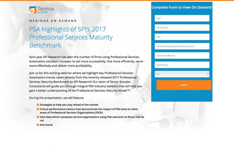 Tenrox Webinar: PSA Highlights of SPI's 2017 Professional Services Maturity Benchmark