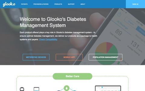 Screenshot of Products Page glooko.com - Glooko | Mobile Diabetes Management | Blood Glucose Log - captured Sept. 16, 2014