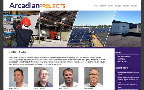 Screenshot of arcadianprojects.ca - OUR TEAM - Arcadian Projects - captured Oct. 7, 2015