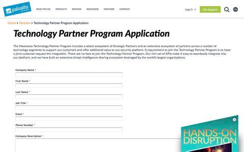 Technology Partner Program Application - Palo Alto Networks