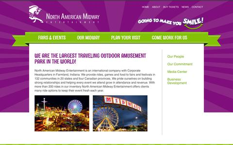 Screenshot of About Page namidway.com - North American Midway Entertainment is an international company with Corporate Headquarters in Farmland, IN. Contact us at: info@namidway.com - captured Oct. 26, 2014