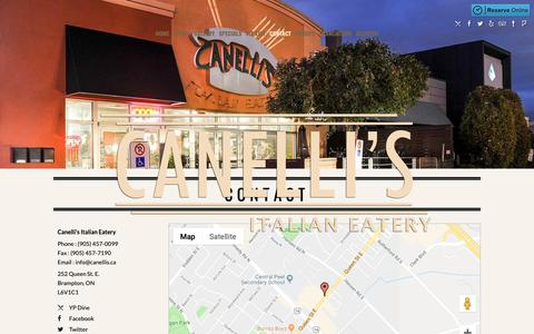 Screenshot of Contact Page canellis.ca - Contact    Canelli's Italian Eatery   Brampton, ON   (905) 457-0099 - captured Sept. 26, 2018