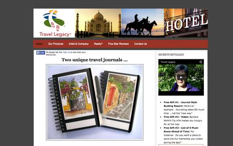 Screenshot of Home Page travellegacy.net - Travel Journals Capture Memories - Scrapbook Trip Gifts - captured Oct. 7, 2014