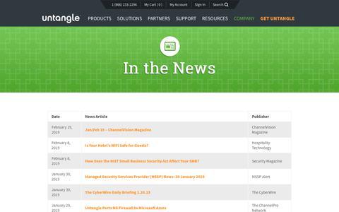 Screenshot of Press Page untangle.com - In the News | Untangle - captured Feb. 22, 2019