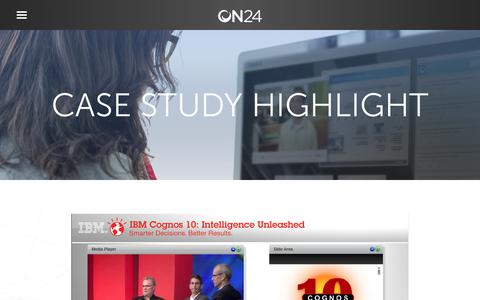 Screenshot of Case Studies Page on24.com - IBM Cognos 10   Webinar Launch Simulcast   ON24 - captured Oct. 12, 2017