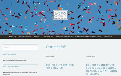 Screenshot of Testimonials Page paxmedia.org - Pax Media Testimonials and the Dynamic-Duo Sisters: Marketing Made Easy | - captured May 12, 2017