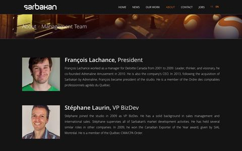 Screenshot of Team Page sarbakan.com - Management Team - captured Sept. 30, 2014