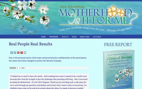 Screenshot of Testimonials Page motherhoodisitforme.com - Real People Real Results - Motherhood-is it for me? - captured Feb. 6, 2016
