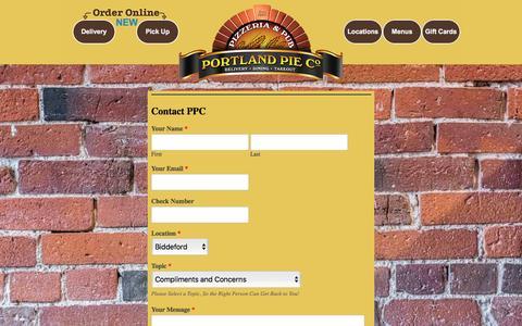 Screenshot of Contact Page portlandpie.com - Portland Pie Co | Gourmet Pizza | Contact Us - captured Nov. 8, 2016