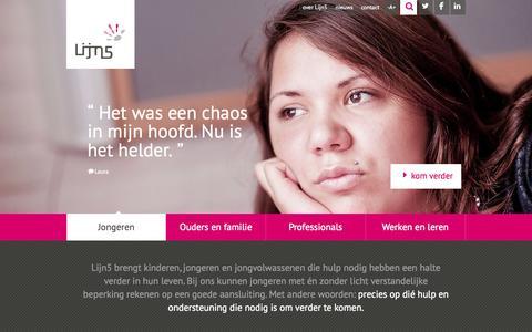 Screenshot of Home Page ln5.nl - Lijn5 - Jeugdzorg in Noord-Holland, Utrecht en Gelderland - captured June 18, 2015