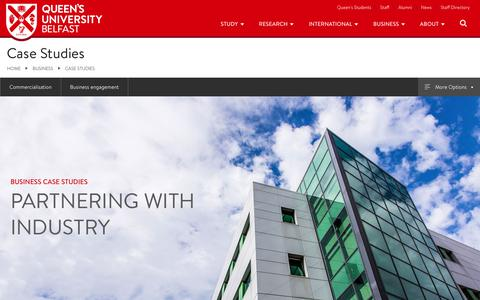 Screenshot of Case Studies Page qub.ac.uk - Case studies   Business   Queen's University Belfast - captured Sept. 24, 2018