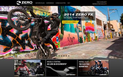 Screenshot of Home Page zeromotorcycles.com - ZERO MOTORCYCLES – The Electric Motorcycle Company - Official Site - captured July 12, 2014