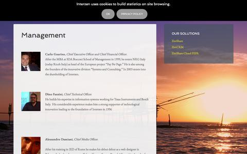 Screenshot of Team Page interzen.it - Interzen Management and Board of directors - captured Feb. 5, 2018