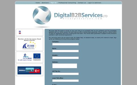 Screenshot of Signup Page 01corpservices.com - Sign Up - captured Oct. 5, 2014