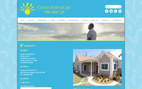 Screenshot of Contact Page caymanhospicecare.ky - Contact Us - Cayman HospiceCare - We're About Life - captured March 18, 2016