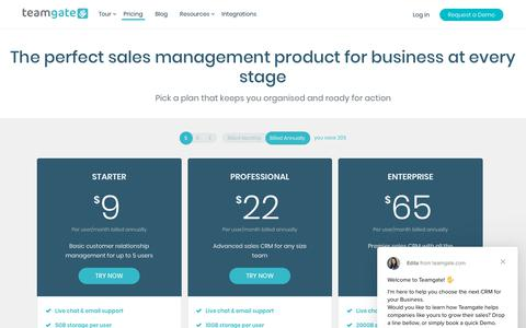 Screenshot of Pricing Page teamgate.com - Ilmaras says… - captured July 21, 2019