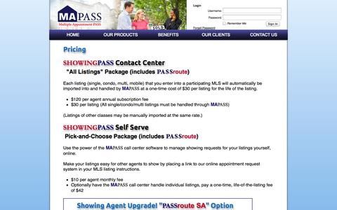 Screenshot of Pricing Page mapass.com - MAPASS - Multiple Appointment PASS - captured Sept. 19, 2014