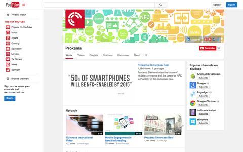 Screenshot of YouTube Page youtube.com - Proxama  - YouTube - captured Oct. 22, 2014