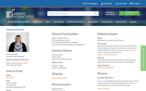 Screenshot of Contact Page Support Page arborsci.com - Customer Service - captured Sept. 29, 2018