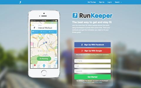 Screenshot of Home Page runkeeper.com - RunKeeper - Track your runs, walks more with your iPhone or Android phone - RunKeeper - captured Oct. 10, 2014